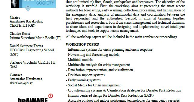 1st International Workshop on Intelligent Crisis Management Technologies for climate events